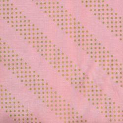 Tissu graphique doré fond rose 100% coton