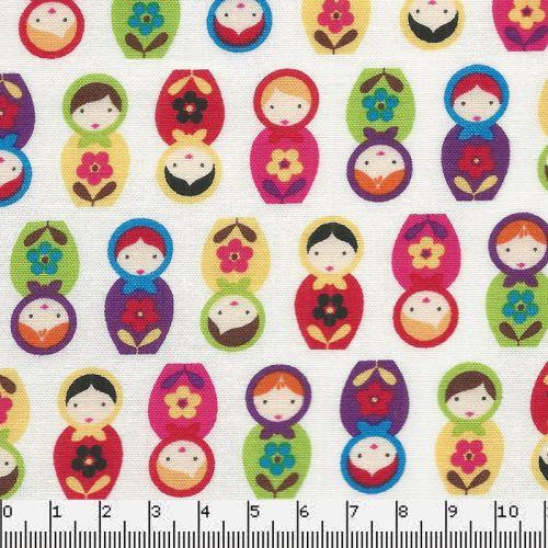 Tissu coton poupées multicolores fond blanc