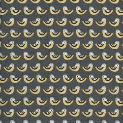 Tissu  coton oiseaux fond gris