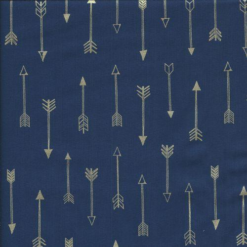 Tissu flêches 100 % coton fond bleu marine