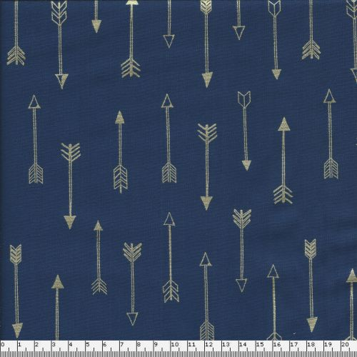 Tissu coton flêches dorés fond bleu marine