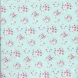 Tissu Paperie Bleu ciel Fleurs