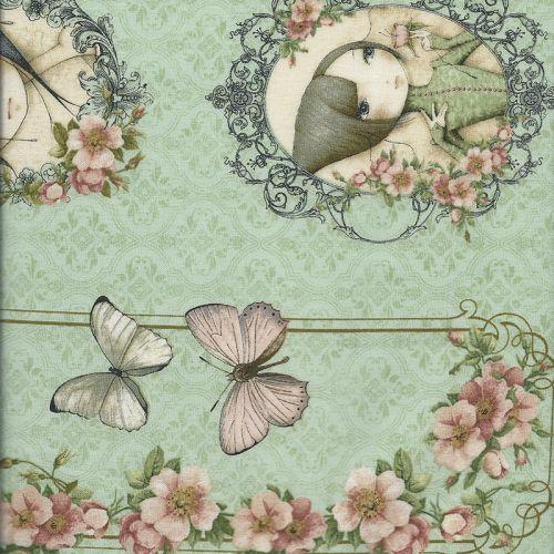 Tissu coton Mirabelle portraits fond vert