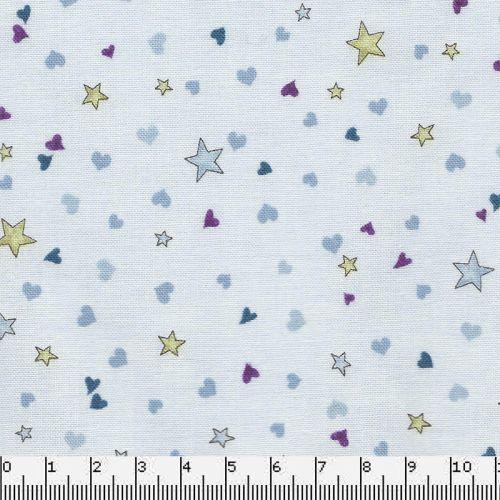 Tissu coton Gorjuss étoiles fond bleu