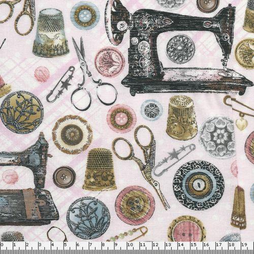 Tissu couture vintage fond rose