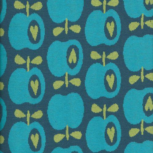 Tissu maille BIO pommes bleu
