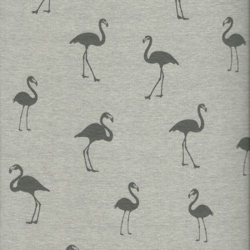Tissu sweat flamants fond gris