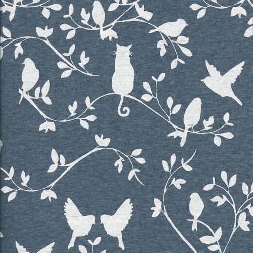 Tissu sweat animaux blanc fond bleu