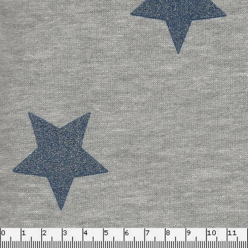 Tissu sweat étoiles glitter bleu jean fd gris