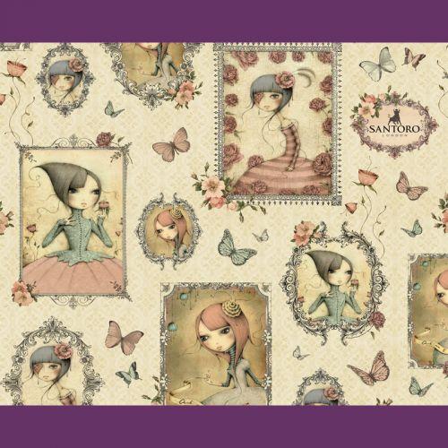 Tissu coton Mirabelle portraits fond beige