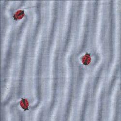 Tissu rayures brodées coccinelle