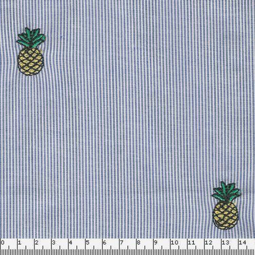 Tissu rayures brodées ananas