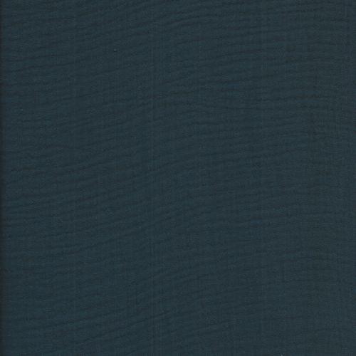 Tissu double gaze froissée bleu marine
