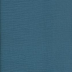 Tissu double gaze froissée bleu jean