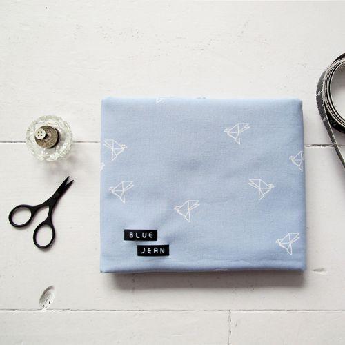Tissu coton Bye Bye Birdie Blue Jean Atelier Brunette