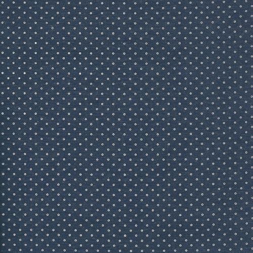Tissu Chambray bleu foncé ancres blanches