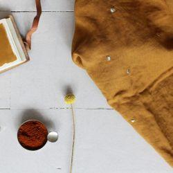 Tissu double gaze Stardust ochre Atelier Brunette