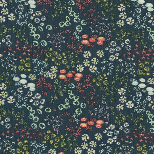 Tissu jersey imprimé petites fleurs/marine