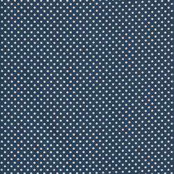 Tissu coton pois blancs fond bleu