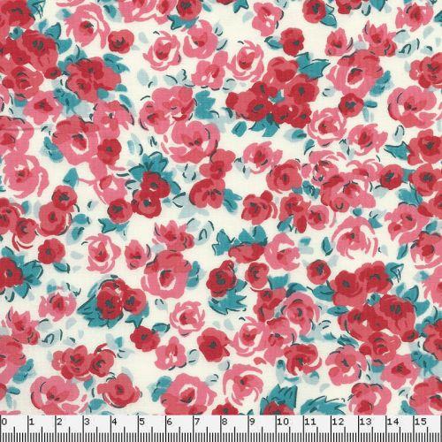 Tissu coton Fleurs roses Robert Kaufmann