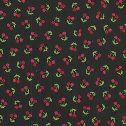 Tissu coton cerises fond noir Robert Kaufmann