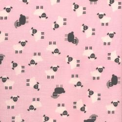 Tissu coton mouton fond rose  Robert Kaufman