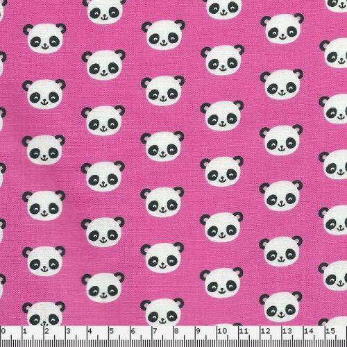Tissu coton panda fond rose Robert Kaufman