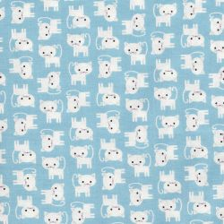 Tissu coton chats blancs fond bleu Robert Kaufman