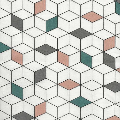 Tissu coton cubes