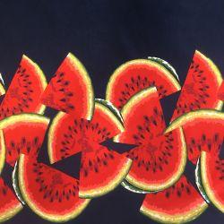 Tissu jersey pastèques fd marine 95%cot/5%el larg 150cm