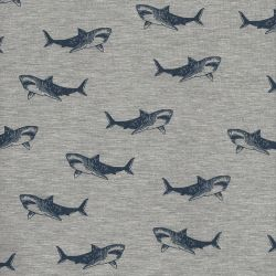 Tissu sweat léger Shark attack Poppy 60%cot/35%pol/5%el larg