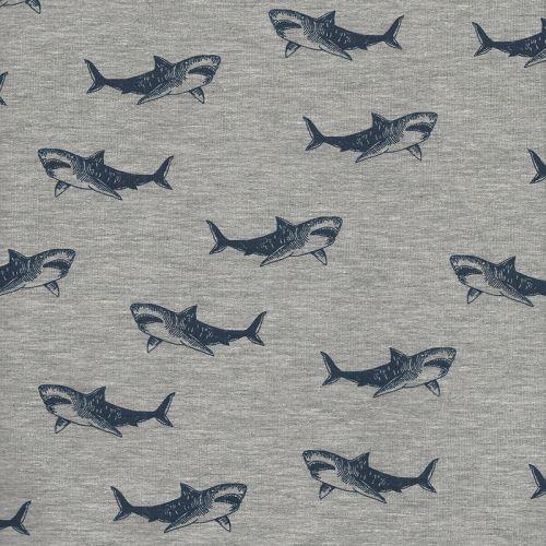 Tissu sweat léger Shark attack Poppy 60%cot/35%pol/5%el larg