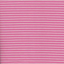 Tissu jersey rayé rose et blanc