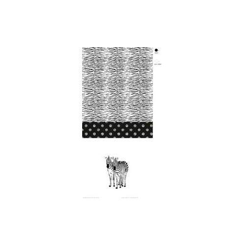 Panneau 65cm coton zébre fond blanc