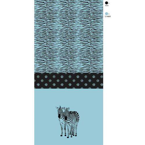 Panneau 65cm coton zébre fond bleu