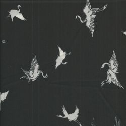 Tissu Grues fond noir