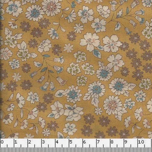 Tissu coton Frou-Frou fleuri poussière d'or