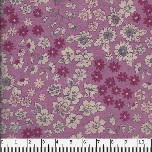 Tissu coton Frou-Frou fleuri rose des indes