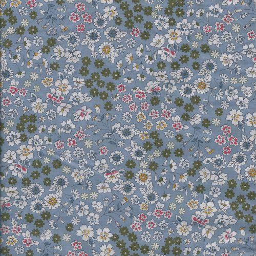 Tissu coton Frou-Frou fleuri bleu glacier