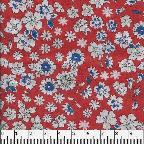 Tissu coton Frou-Frou fleuri orange