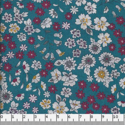 Tissu coton Frou-Frou fleuri bleu canard