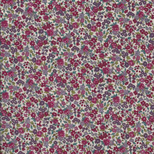 Tissu coton Frou-Frou fleuri fleurs roses