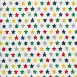 Tissu coton étoiles multi fond blanc
