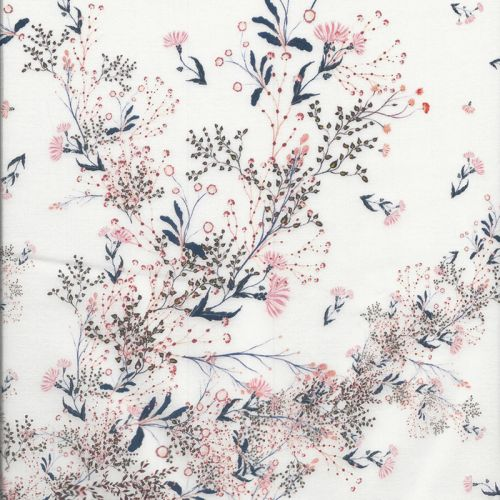 Tissu coton chardons rouges fond blanc