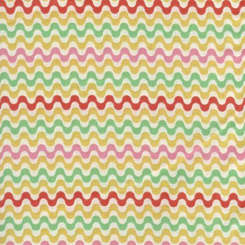 Tissu coton vagues colorées