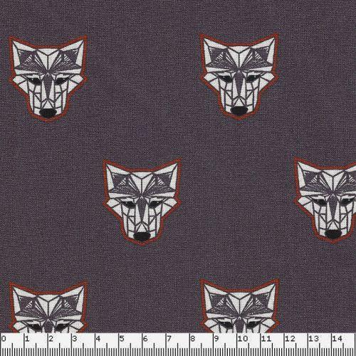 Tissu coton wolfbots fond gris