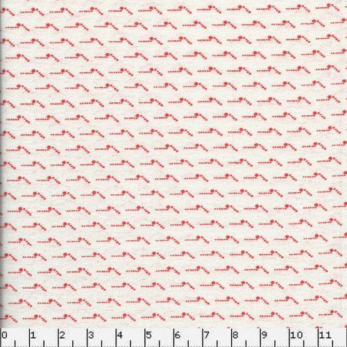 Tissu coton pointillisme rouge fond blanc