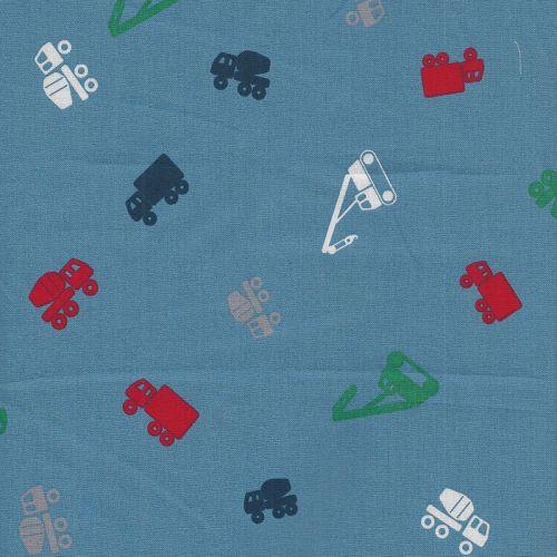Tissu coton camions fond bleu