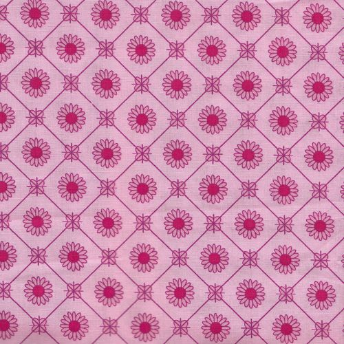 Tissu popeline fleur rose fond rose Stenzo