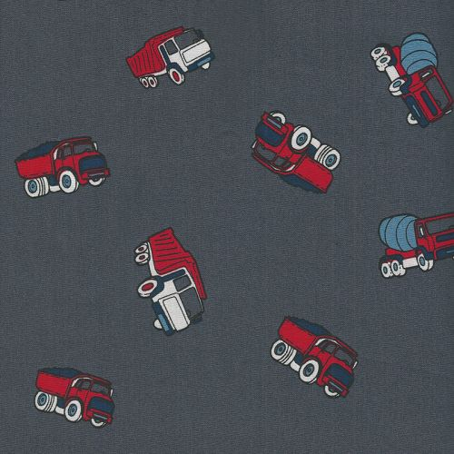 Tissu coton camions fond gris